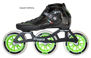 2017 Luigino Strut Black 3 Wheel Outdoor Inline Speed Skate
