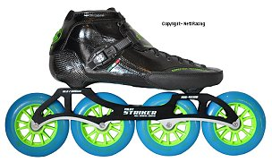 2017 Luigino Strut Black 4 Wheel Indoor Inline Speed Skate